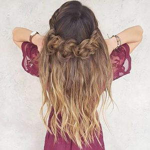 half up braided