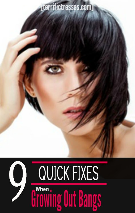 So the bangs have to go, huh?  They were great fun right up until the day they weren't.  Then they had to go away - like yesterday.  Sounds like you could use the nine fast fixes found here to make the best of what can be an awkward, in-between situation.   TerrificTresses
