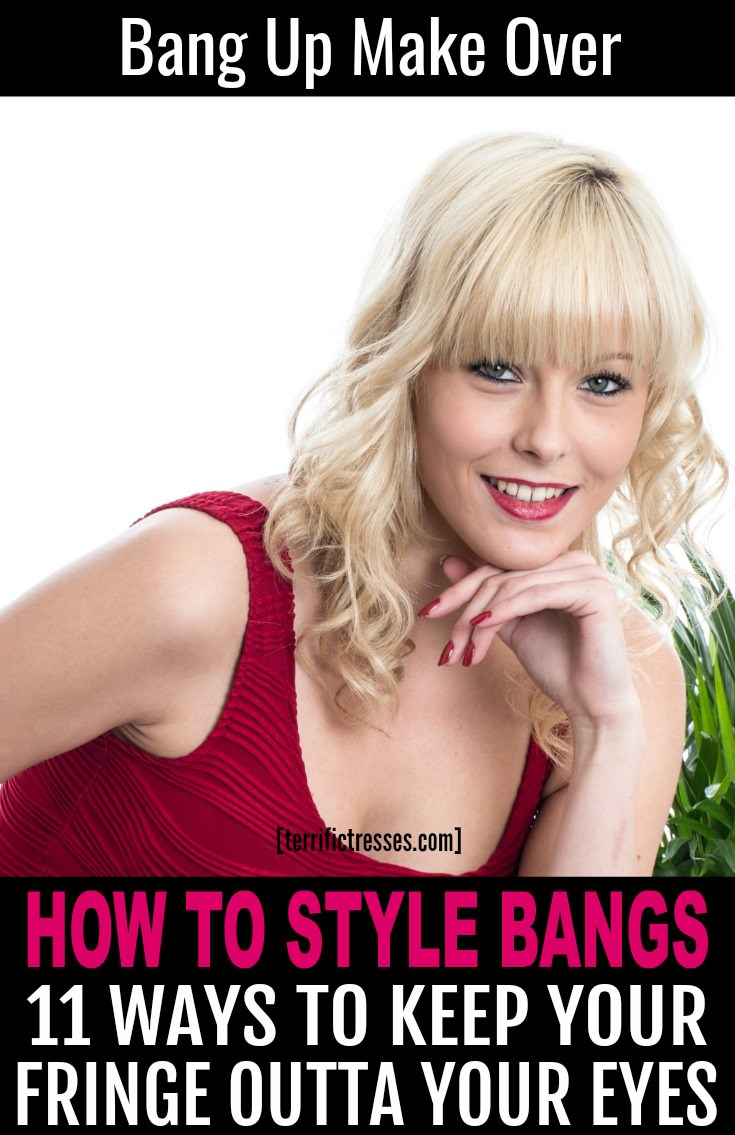 Would a dozen different ways to style your bangs keep them from becoming annoying? You're about to find out.  We both know there are a lot of cute ways to wear bangs. This cool collection of styling ideas might come in handy when looking for different ways to draw attention to your eyes! | TerrificTresses.com