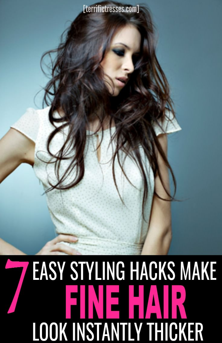Looking for easy ways to take your mane from thin to thick?  Or at least make it look that way?  Get the scoop on the best cuts, styling tools and plumping products that can help fatten up those skinny strands fast.  The nine tips and tricks revealed are must know info if you are desperately seeking help with fine hair.  Give your mane the extra boost it needs so your style too can dance with the daring. | TerrificTresses