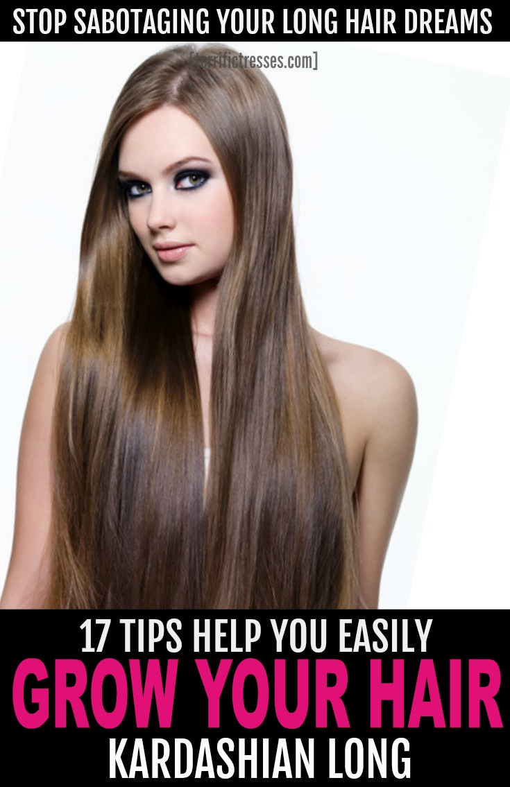 Dream of long, luscious locks?  Is it even possible to make hair grow faster?  Get mermaid-worthy longer hair faster following these 17 genius hacks.  Not to promise long hair in a week but growing long, shiny, sexy, strands has never been easier.  Here's exactly how to grow out your hair in no time. | TerrificTresses.com