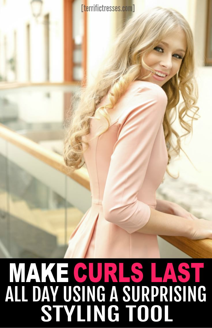Curls that last all day?  With fine straight hair?  Yeah this is a how to curl straight fine hair guide unlike any other.  It comes down to a surprising styling tool.  So check it out if you are dying to know how to get your hair to hold a curl. | TerrificTresses.com