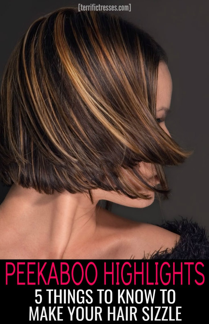Peekaboo highlights let you spice up your dark hair with striking shades.  Go as bold as you like or stick with more natural contrasting colors.  Discover the secrets behind this trendy hair highlighting technique that radiates shimmer and dimension with your every move. | TerrificTresses.com