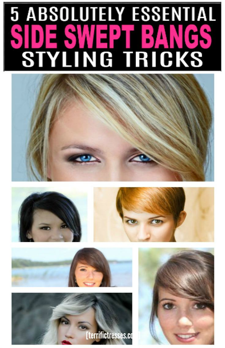Freaking out over a flirty side swept fringe but not sure it's right for you?  Worried how you would  style it if got the courage to take the plunge.  Relax.  First there's nothing like cute bangs to bring out your hair's inner cool, feminine and sexy side. Plus no need to feel locked in as long as you are armed with these five essential styling tricks. | TerrificTresses