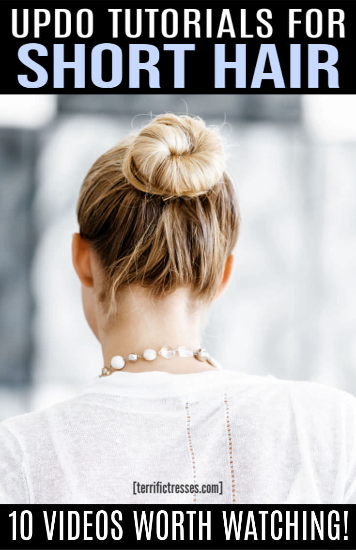Ever struggled to find updos for short hair that work on, well, short hair? It can be maddening. It wasn't easy but we found 10 quick step by step tutorials for short haired beauties. Some are casual for work or everyday. Others more formal and elegant. Some are simple with bangs. Others might be more of a bun or braided on the side. All are demonstrated on hair no longer than shoulder length I swear! If you feel styling options for short hair are limited check this out. #UpdosForShortHair