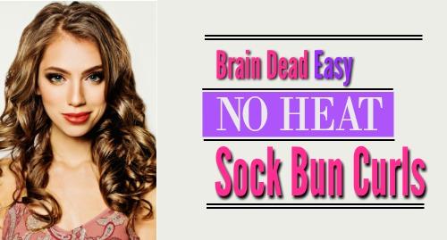 sock bun curls, heat free curls