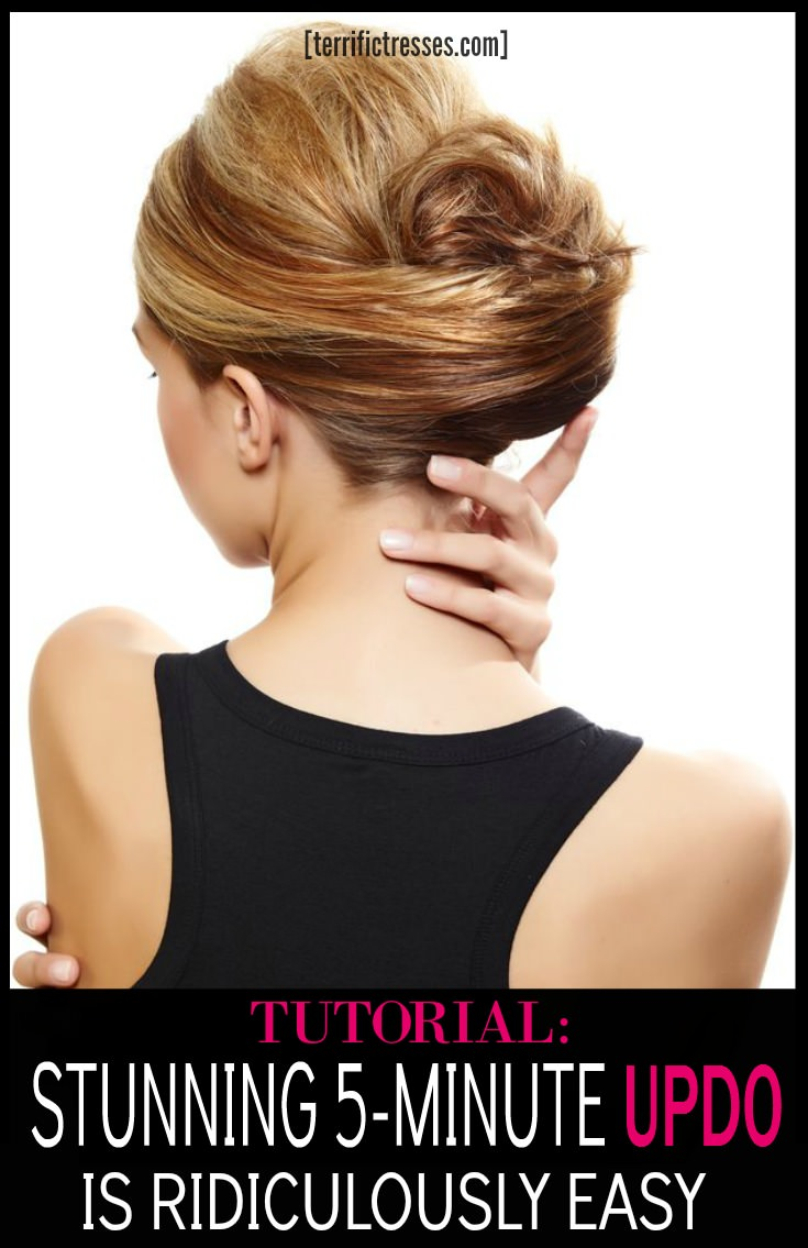 This five minute step-by-step updo tutorial is crazy easy.  Yet the style is so chic and super cute.  Definitely a look most would pay money for. C'mon, who doesn't want to know how to look like this in less than five minutes?| TerrificTresses.com