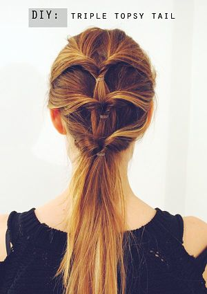 triple topsy tail ponytail